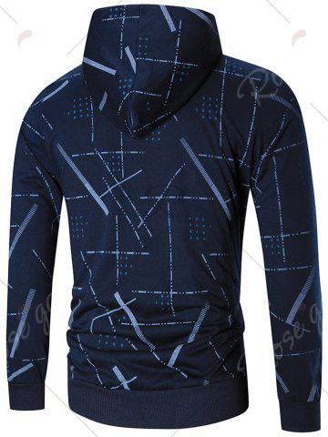 Hot Zip Front Printed Hoodie - M BLUE Mobile