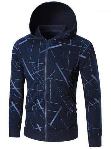 Shop Zip Front Printed Hoodie - M BLUE Mobile
