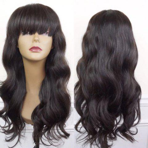 Store Long Neat Bang Body Wave Synthetic Wig BLACK AND BROWN