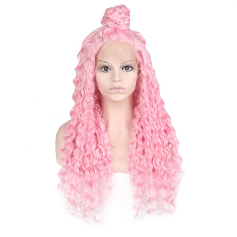 Hot Women Trendy Free Part Fluffy Long Curly Lace Front Synthetic Wig - PINK  Mobile