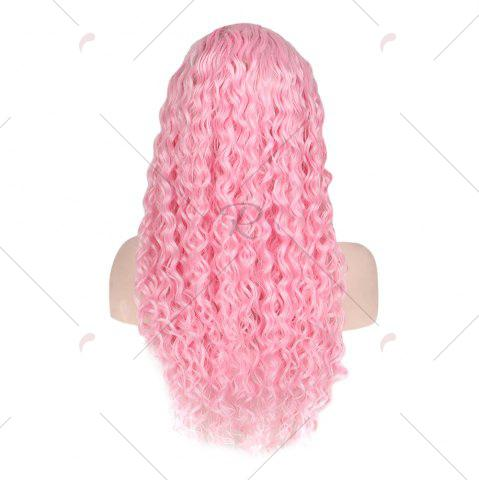 Buy Women Trendy Free Part Fluffy Long Curly Lace Front Synthetic Wig - PINK  Mobile