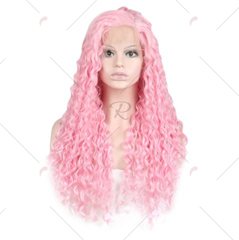 Cheap Women Trendy Free Part Fluffy Long Curly Lace Front Synthetic Wig - PINK  Mobile