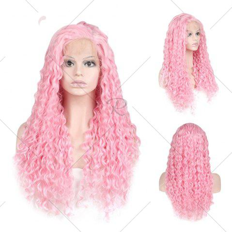 Fashion Women Trendy Free Part Fluffy Long Curly Lace Front Synthetic Wig - PINK  Mobile