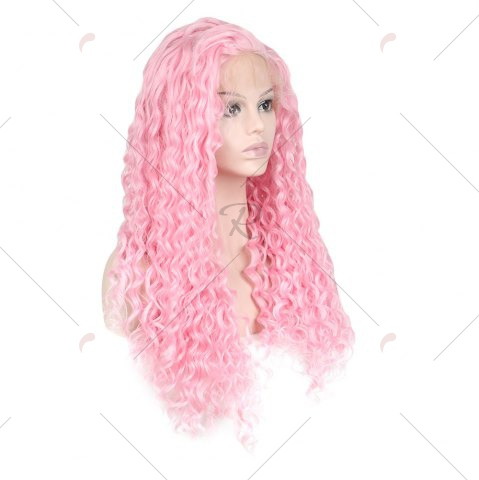 Fancy Women Trendy Free Part Fluffy Long Curly Lace Front Synthetic Wig - PINK  Mobile