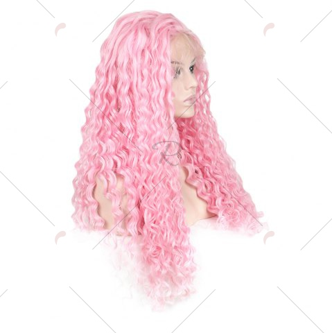 Store Women Trendy Free Part Fluffy Long Curly Lace Front Synthetic Wig - PINK  Mobile