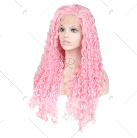 Outfits Women Trendy Free Part Fluffy Long Curly Lace Front Synthetic Wig - PINK  Mobile