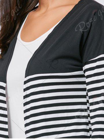 Affordable Long Two Tone Striped Panel Cardigan - L BLACK Mobile