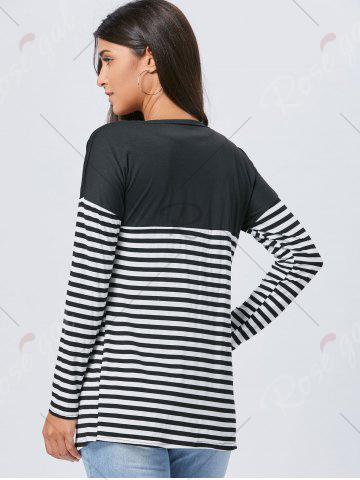 Discount Long Two Tone Striped Panel Cardigan - L BLACK Mobile