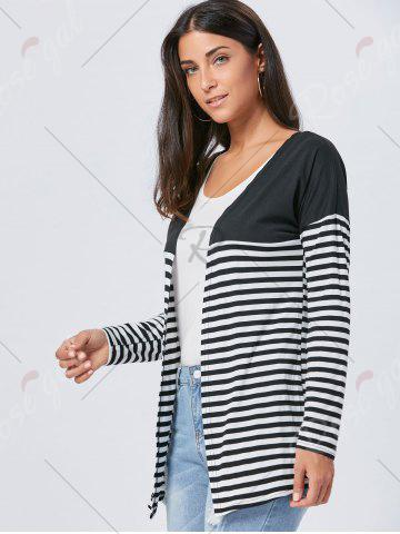 Outfit Long Two Tone Striped Panel Cardigan - L BLACK Mobile