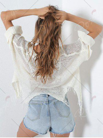 Fashion Hollow Out Short V Neck Distressed Sweater - ONE SIZE WHITE Mobile