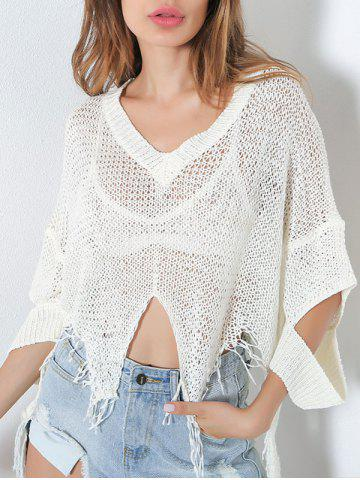 Discount Hollow Out Short V Neck Distressed Sweater - ONE SIZE WHITE Mobile