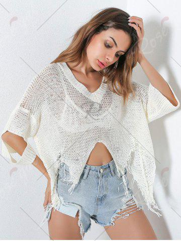 Affordable Hollow Out Short V Neck Distressed Sweater - ONE SIZE WHITE Mobile