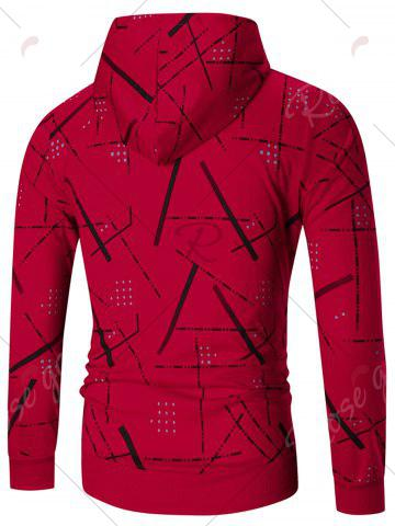 Outfit Zip Front Printed Hoodie - 4XL RED Mobile