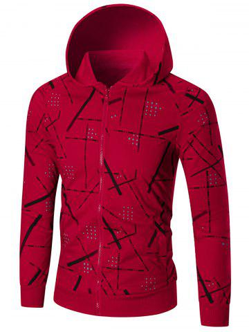 Cheap Zip Front Printed Hoodie - 4XL RED Mobile
