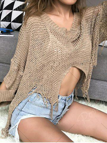 Fashion Hollow Out Short V Neck Distressed Sweater - ONE SIZE KHAKI Mobile