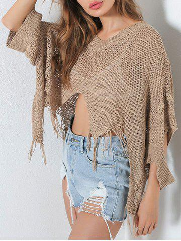 Outfit Hollow Out Short V Neck Distressed Sweater - ONE SIZE KHAKI Mobile