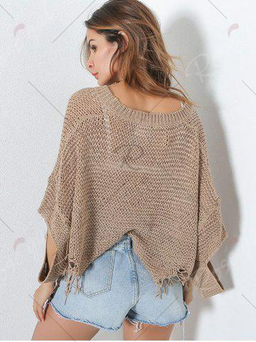 Hot Hollow Out Short V Neck Distressed Sweater - ONE SIZE KHAKI Mobile