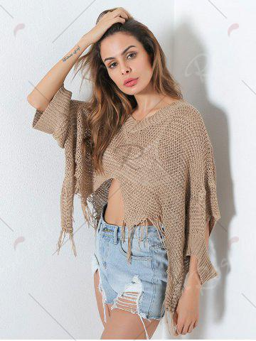 Latest Hollow Out Short V Neck Distressed Sweater - ONE SIZE KHAKI Mobile