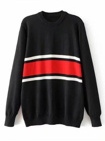 Fashion Crew Neck Striped Jumper Sweater - L BLACK Mobile