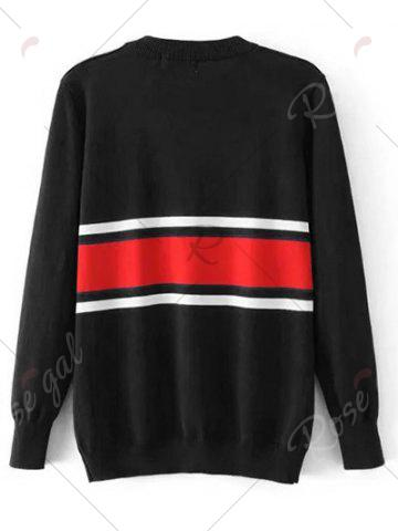 Cheap Crew Neck Striped Jumper Sweater - L BLACK Mobile