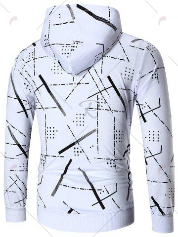 New Zip Front Printed Hoodie - 4XL WHITE Mobile