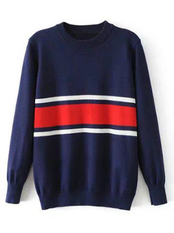 Shop Crew Neck Striped Jumper Sweater - S PURPLISH BLUE Mobile
