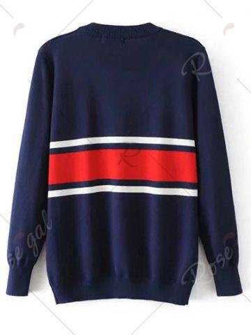 Unique Crew Neck Striped Jumper Sweater - S PURPLISH BLUE Mobile
