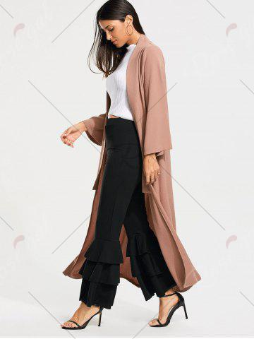 Chic Open Front Long Maxi Cardigan - M PALE PINKISH GREY Mobile