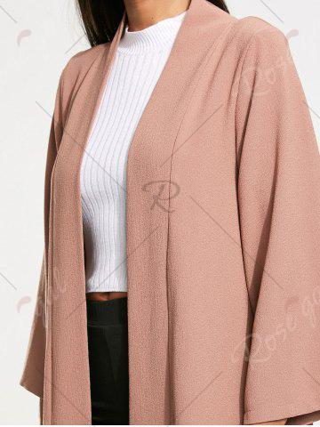 Trendy Open Front Long Maxi Cardigan - L PALE PINKISH GREY Mobile
