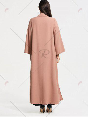 Fancy Open Front Long Maxi Cardigan - L PALE PINKISH GREY Mobile