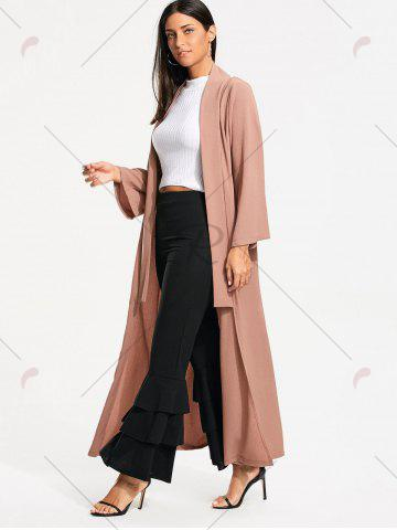 Discount Open Front Long Maxi Cardigan - L PALE PINKISH GREY Mobile