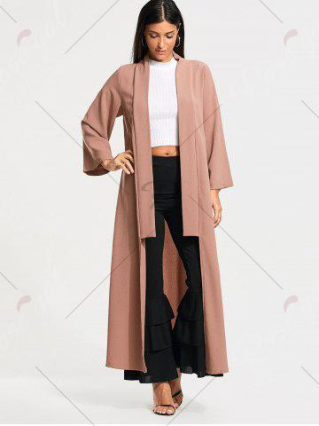 Chic Open Front Long Maxi Cardigan - L PALE PINKISH GREY Mobile