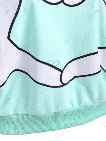 Affordable Gesture Print Crew Neck Pullover Sweatshirt - ONE SIZE MINT Mobile