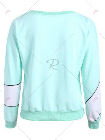 Chic Gesture Print Crew Neck Pullover Sweatshirt - ONE SIZE MINT Mobile