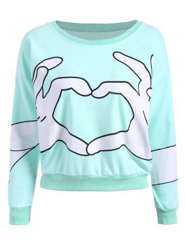 Hot Gesture Print Crew Neck Pullover Sweatshirt - ONE SIZE MINT Mobile