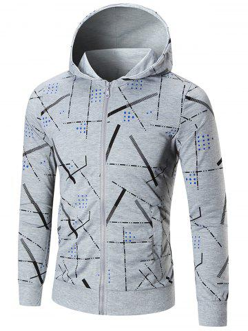 Fancy Zip Front Printed Hoodie - 4XL GRAY Mobile