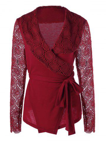 Fashion Plunging Neck Long Sleeve Lace Panel Wrap Top RED M