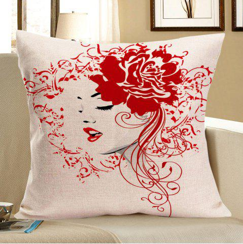 Unique Flower Girl Printed Square Pillow Case - W18 INCH * L18 INCH RED Mobile