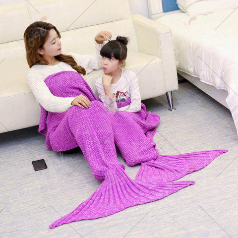 Sale Crocheted Mother and Daughter Mermaid Blanket - 180*145CM ROSE MADDER Mobile