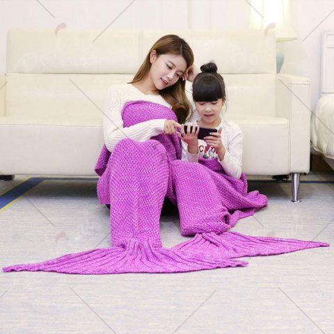 Unique Crocheted Mother and Daughter Mermaid Blanket - 180*145CM ROSE MADDER Mobile