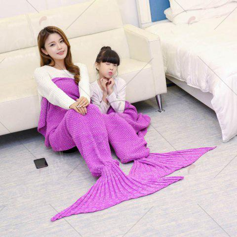 Chic Crocheted Mother and Daughter Mermaid Blanket - 180*145CM ROSE MADDER Mobile