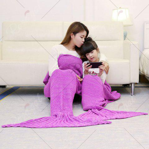 Fashion Crocheted Mother and Daughter Mermaid Blanket - 180*145CM ROSE MADDER Mobile