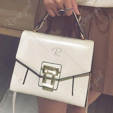 Outfits Metal Embellished Faux Leather Handbag - OFF-WHITE  Mobile