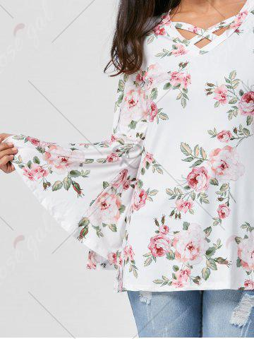 Affordable Floral Split Flare Sleeve Tunic Top - L WHITE Mobile