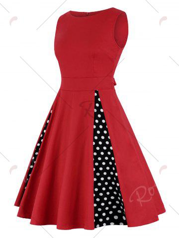 Affordable High Waist Polka Dot A Line Dress - 2XL RED Mobile
