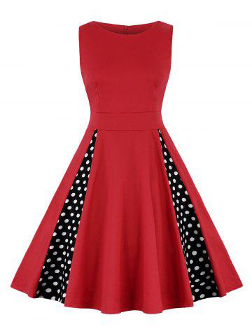 Latest High Waist Polka Dot A Line Dress - 2XL RED Mobile