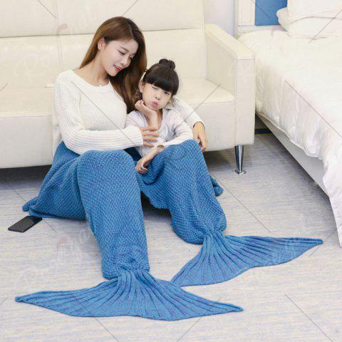 Unique Crocheted Mother and Daughter Mermaid Blanket - 180*145CM LIGHT BLUE Mobile