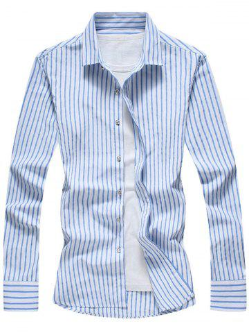 Online Casual Long Sleeve Vertical Stripe Shirt - 2XL BLUE Mobile