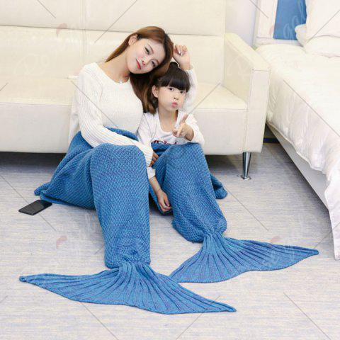 Outfits Crocheted Mother and Daughter Mermaid Blanket - 180*145CM LIGHT BLUE Mobile