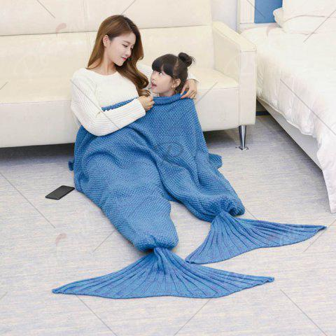 Chic Crocheted Mother and Daughter Mermaid Blanket - 180*145CM LIGHT BLUE Mobile